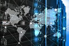 World map with communication network on server room background.  stock photos