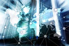 World map with communication network on server room background.  royalty free stock photography