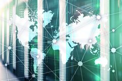 World map with communication network on server room background.  Royalty Free Stock Image
