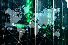 World map with communication network on server room background.  royalty free stock images