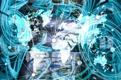 World map with communication network on server room background. World map with communication network on server room background royalty free stock photo