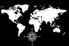 WOrld Map with compass. A world map with a compass Stock Photo