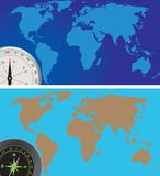 World map and compass Royalty Free Stock Photo