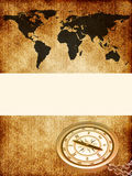World map with a compass. On the old texture Stock Photos