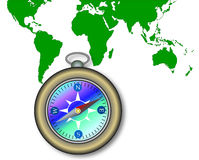 World map with compass. Vector art of a World map with compass Stock Image