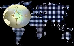 World Map And Compass. A globe with a compass hovering over a dotted world map Royalty Free Stock Image