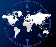 World map and compass. A blue and white illustration of a world map and compass Royalty Free Stock Photography