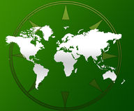 World map and compass. A green and white illustration of a world map and compass Stock Photos