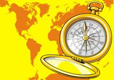 World map and compass. As nice background Royalty Free Stock Photos