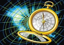 World map and compass. As nice background Stock Image