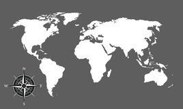 World map and compass background. A world map and compass background Royalty Free Stock Photography