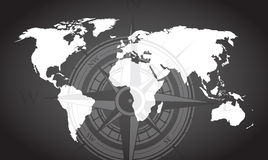 World map and compass background Royalty Free Stock Photography