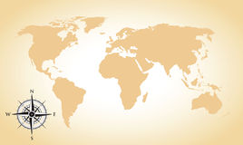 World map and compass background. A world map and compass background Stock Photos