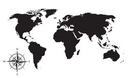 World map and compass background. A world map and compass background Stock Images