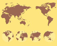 World map and compass of  illustration Royalty Free Stock Image