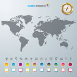 World map with Compass info graphic. Used for workflow layout, diagram, banner, number options, graphic or web design Royalty Free Stock Images