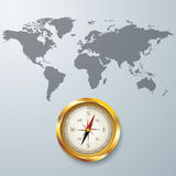 World map with Compass info graphic. Used for workflow layout, diagram, banner, number options, graphic or web design Stock Photos