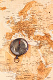 World map with compass showing. North Africa and Europe Stock Photos