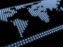 World map, composed of blue glowing spots on a black background Stock Images