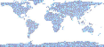 World map composed of dots. World map composed of blue dots. Vector illustration royalty free illustration
