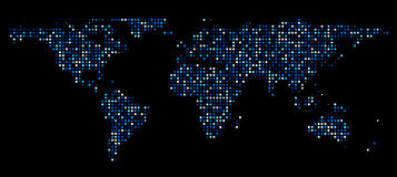 World map composed of blue glowing spots on a black background world map composed of dots stock illustration gumiabroncs Choice Image