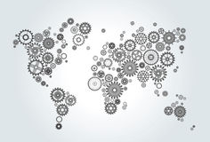 World map composed of gears, wheels on gradient background. World map composed of gears, wheels black on gradient background Royalty Free Stock Photo