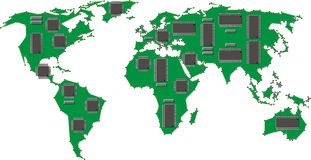 World map with computer chips Stock Photography