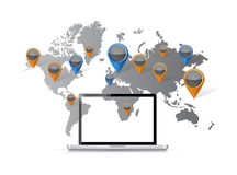 World map computer locations Stock Image