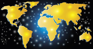 World map concept. Yellow world map concept illustration Royalty Free Stock Image