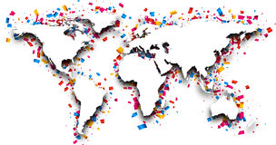World map with confetti. 3d world map with colour confetti. Vector paper illustration Stock Photo