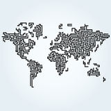 World map connected with Circuit board lines. Simply world map connected with Circuit board lines stock illustration