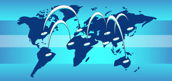 World map with connection lines stock illustration
