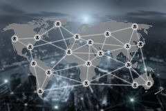 World map and connection social network communication icon. With blurr city in background. Social network concept Stock Image