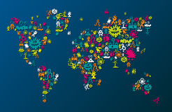 World map consisting of monsters Royalty Free Stock Image