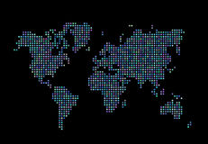 World map consisting of stars on a dark background. World map made up of stars on a black background Royalty Free Stock Photo