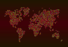 World map consisting of stars on a red background Royalty Free Stock Image