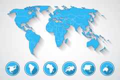 World map and continent icons Royalty Free Stock Photo
