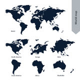 World Map and continent. Line vector Illustration stock illustration