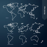 World Map and continent Royalty Free Stock Photography