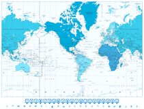 World map continents in colors of blue America in center   Royalty Free Stock Images