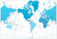 World map continents in colors of blue. America in center Stock Image