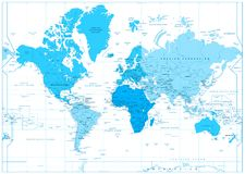 World Map with continents in colors of blue isolated on white. Highly detailed map illustration with countries, cities and water objects stock illustration