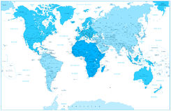World Map and continents in colors of blue  on white Royalty Free Stock Images