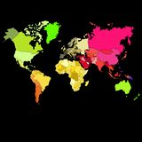 World map continents and countries. vector illustration Stock Photography