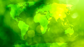 World map. World map, continents in green bokeh background Royalty Free Stock Photography