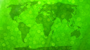 World map. World map, continents in green bokeh background Stock Photo