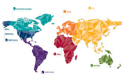World map. Map of the world with continents marked in different colors Stock Photo