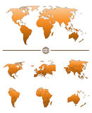 World map and continents. World map shape and separated continents with states tuned in orange color Stock Image