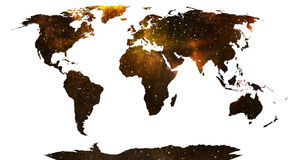 World map. World map, continents in stars background Stock Photography