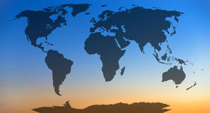 World map. World map, continents in sunset sky background Royalty Free Stock Photo